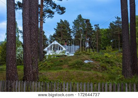 Beautiful Norwegian colorful landscape with a pine trees, green grass, blue sky and lonely house