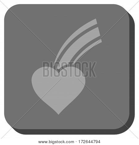 Falling Heart square button. Vector pictogram style is a flat symbol inside a rounded square button light gray and gray colors.