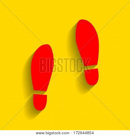 Imprint soles shoes sign. Vector. Red icon with soft shadow on golden background.