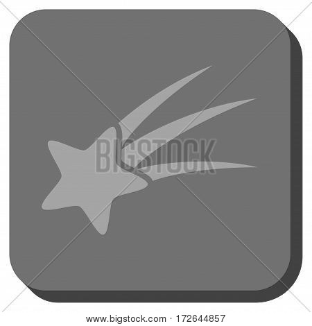 Falling Star square icon. Vector pictograph style is a flat symbol centered in a rounded square button light gray and gray colors.