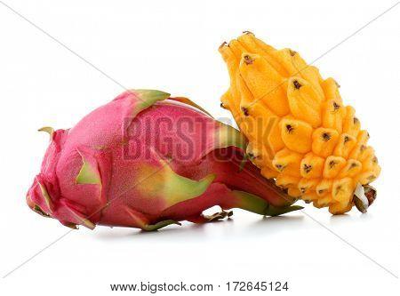 Yellow pitahaya and dragon fruit isolated on white
