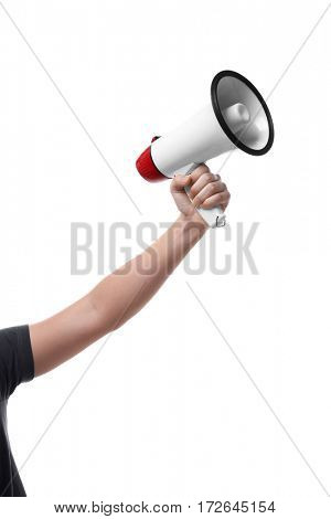 Male hand holding megaphone on white background