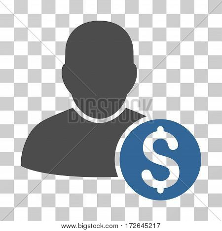 Businessman icon. Vector illustration style is flat iconic bicolor symbol cobalt and gray colors transparent background. Designed for web and software interfaces.