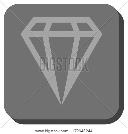 Gem square icon. Vector pictogram style is a flat symbol in a rounded square button light gray and gray colors.