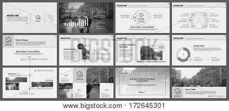 Black and white elements for infographics on a white background. Presentation templates. Use in presentation, flyer and leaflet, corporate report, marketing, advertising, annual report, banner.