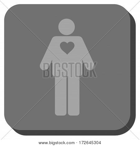 Groom square button. Vector pictograph style is a flat symbol centered in a rounded square button light gray and gray colors.