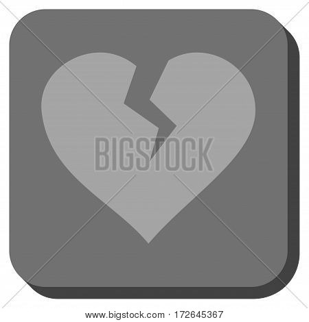 Heart Break rounded icon. Vector pictograph style is a flat symbol on a rounded square button light gray and gray colors.