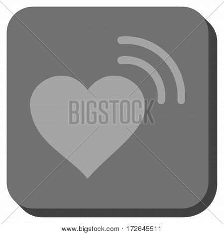 Heart Radio Signal rounded button. Vector pictograph style is a flat symbol inside a rounded square button light gray and gray colors.
