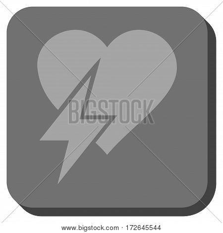 Heart Shock toolbar button. Vector pictogram style is a flat symbol inside a rounded square button light gray and gray colors.