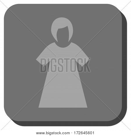 Lady Figure interface toolbar icon. Vector pictograph style is a flat symbol inside a rounded square button light gray and gray colors.
