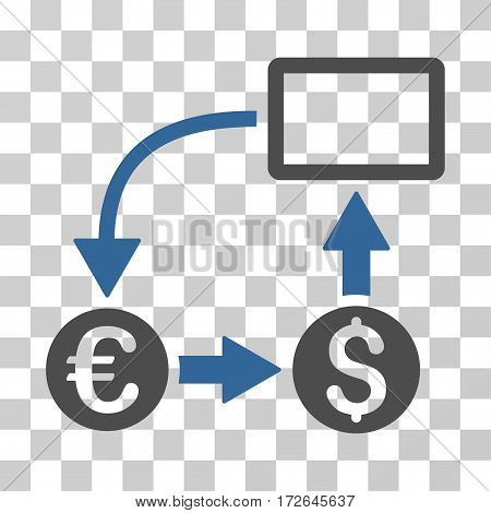 Cashflow Euro Exchange icon. Vector illustration style is flat iconic bicolor symbol cobalt and gray colors transparent background. Designed for web and software interfaces.