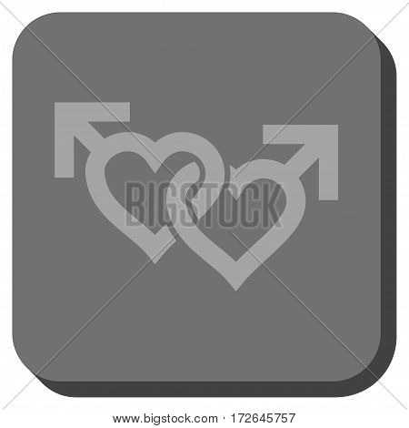 Linked Gay Hearts interface button. Vector pictograph style is a flat symbol centered in a rounded square button light gray and gray colors.
