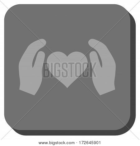 Love Care Hands interface button. Vector pictograph style is a flat symbol inside a rounded square button light gray and gray colors.