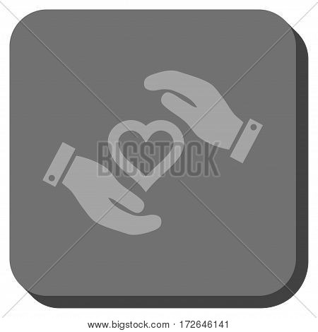 Love Heart Care Hands toolbar button. Vector pictograph style is a flat symbol inside a rounded square button light gray and gray colors.