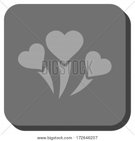 Love Heart Fireworks square button. Vector pictogram style is a flat symbol centered in a rounded square button light gray and gray colors.