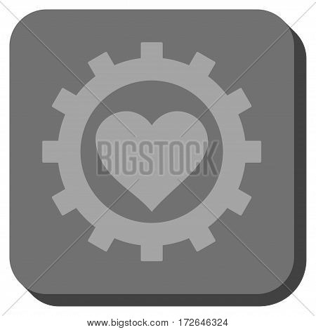 Love Heart Options Gear toolbar button. Vector pictograph style is a flat symbol inside a rounded square button light gray and gray colors.
