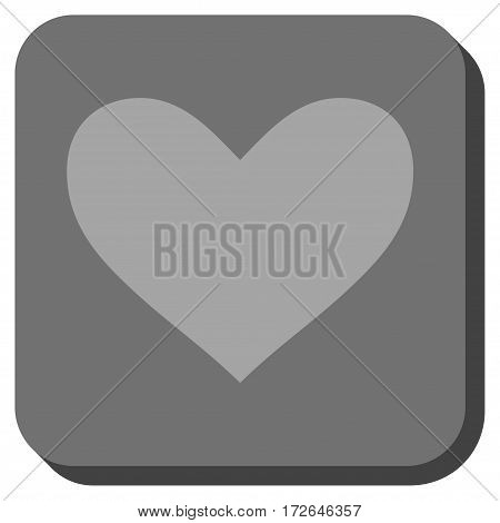 Love Heart rounded button. Vector pictograph style is a flat symbol centered in a rounded square button light gray and gray colors.