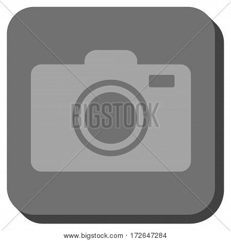 Photo Camera rounded button. Vector pictogram style is a flat symbol centered in a rounded square button light gray and gray colors.