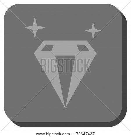 Sparkle Diamond Crystal interface toolbar button. Vector pictogram style is a flat symbol centered in a rounded square button light gray and gray colors.
