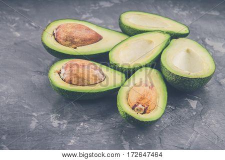Avocado On A Gray Background
