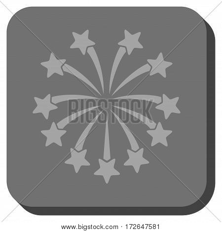 Spherical Fireworks rounded icon. Vector pictograph style is a flat symbol in a rounded square button light gray and gray colors.
