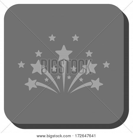 Star Fireworks square button. Vector pictograph style is a flat symbol centered in a rounded square button light gray and gray colors.