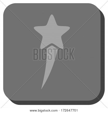 Starting Star rounded button. Vector pictograph style is a flat symbol centered in a rounded square button light gray and gray colors.