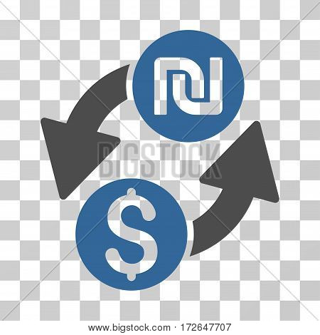 Dollar Shekel Exchange icon. Vector illustration style is flat iconic bicolor symbol cobalt and gray colors transparent background. Designed for web and software interfaces.