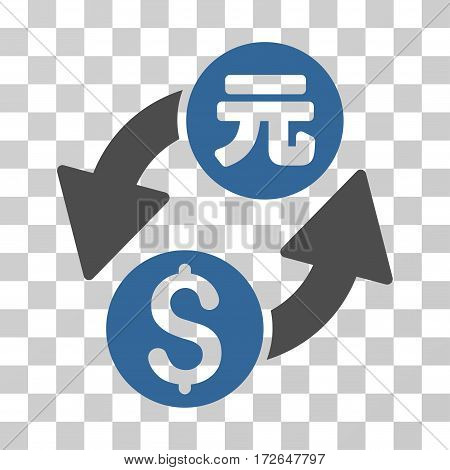 Dollar Yuan Exchange icon. Vector illustration style is flat iconic bicolor symbol cobalt and gray colors transparent background. Designed for web and software interfaces.
