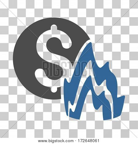 Fire Disaster Price icon. Vector illustration style is flat iconic bicolor symbol cobalt and gray colors transparent background. Designed for web and software interfaces.