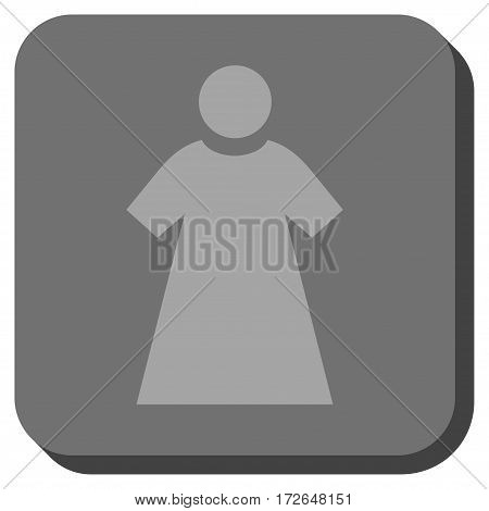Woman toolbar icon. Vector pictograph style is a flat symbol centered in a rounded square button light gray and gray colors.