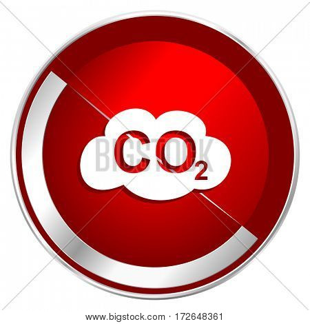 Carbon dioxide red web icon. Metal shine silver chrome border round button isolated on white background. Circle modern design abstract sign for smartphone applications.