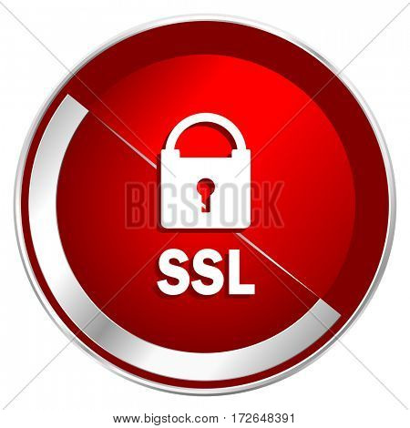 Csl red web icon. Metal shine silver chrome border round button isolated on white background. Circle modern design abstract sign for smartphone applications.