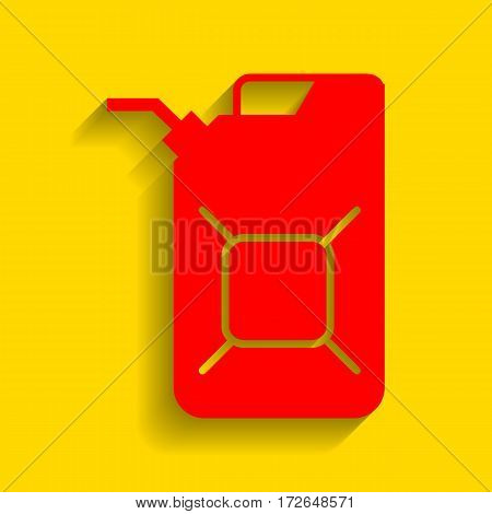 Jerrycan oil sign. Jerry can oil sign. Vector. Red icon with soft shadow on golden background.