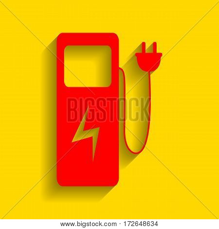 Electric car charging station sign. Vector. Red icon with soft shadow on golden background.
