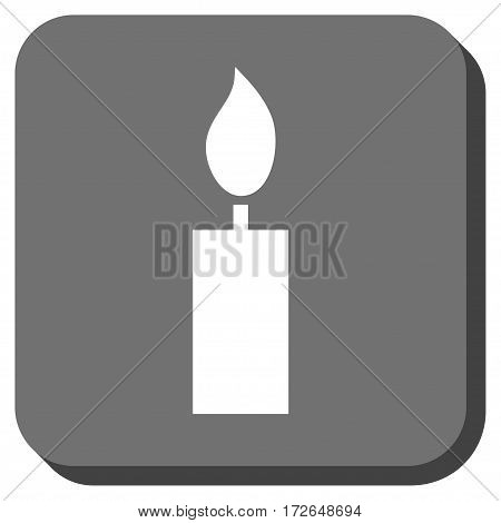 Candle interface button. Vector pictograph style is a flat symbol inside a rounded square button white and gray colors.