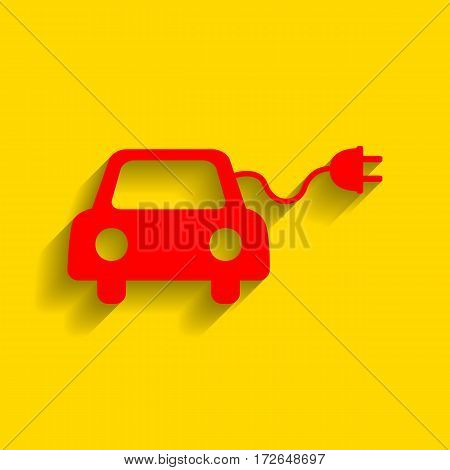 Eco electric car sign. Vector. Red icon with soft shadow on golden background.