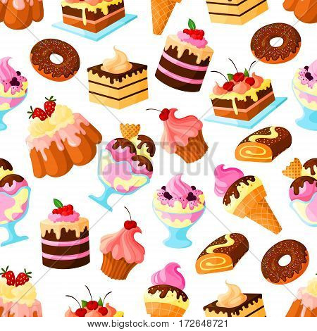 Pastry cakes and bakery desserts vector seamless pattern of biscuit cupcake or cheesecake, ice cream and donut or muffin, waffles and wafer tart, chocolate brownie cookie and patisserie pudding