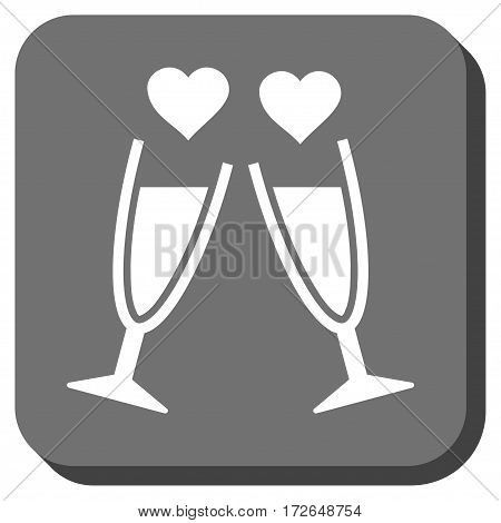 Clink Glasses interface toolbar button. Vector pictogram style is a flat symbol on a rounded square button white and gray colors.