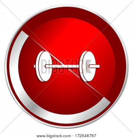 Fitness red web icon. Metal shine silver chrome border round button isolated on white background. Circle modern design abstract sign for smartphone applications.