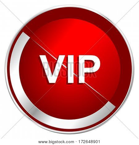 Vip red web icon. Metal shine silver chrome border round button isolated on white background. Circle modern design abstract sign for smartphone applications.