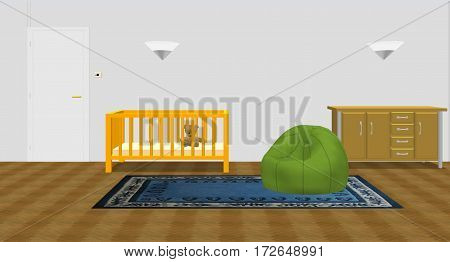 Baby room with bed and dresser and puff on carpet, 3D illustration