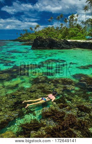 Young woman snorkeling over coral reef on a tropical island with palm trees