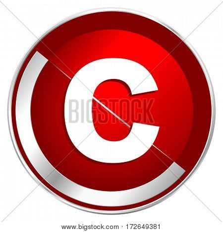 Copyright red web icon. Metal shine silver chrome border round button isolated on white background. Circle modern design abstract sign for smartphone applications.
