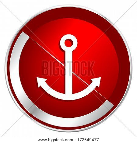 Anchor red web icon. Metal shine silver chrome border round button isolated on white background. Circle modern design abstract sign for smartphone applications.
