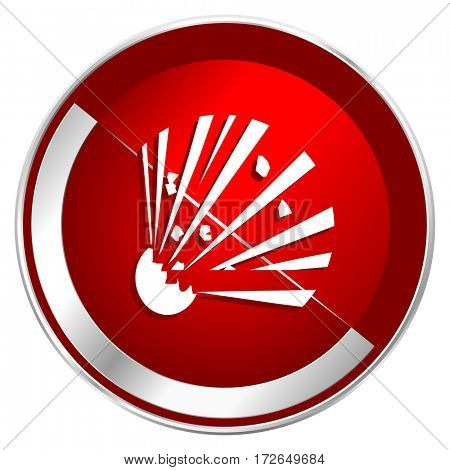 Bomb red web icon. Metal shine silver chrome border round button isolated on white background. Circle modern design abstract sign for smartphone applications.