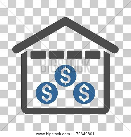 Money Depository icon. Vector illustration style is flat iconic bicolor symbol cobalt and gray colors transparent background. Designed for web and software interfaces.