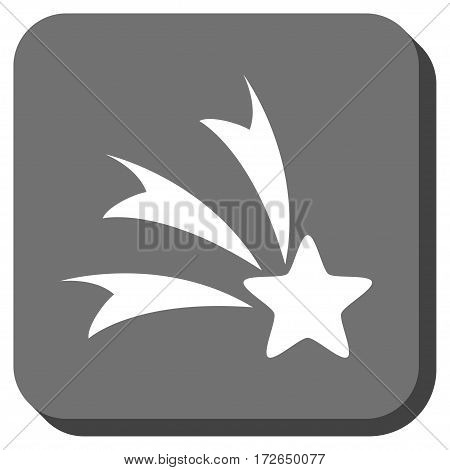 Falling Star interface button. Vector pictograph style is a flat symbol in a rounded square button white and gray colors.
