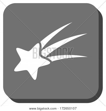 Falling Star interface toolbar icon. Vector pictogram style is a flat symbol inside a rounded square button white and gray colors.