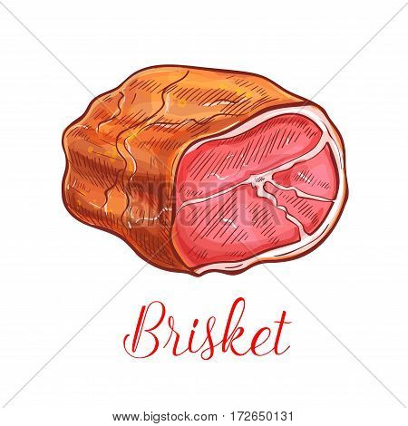Brisket vector sketch icon of ham or bacon lump. Isolated fresh, smoked or salted steak meat and tenderloin or sirloin filet meaty delicatessen product of farm butchery pork, beef or veal